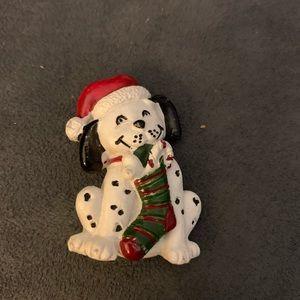 Vintage plastic Xmas Dalmatian pin